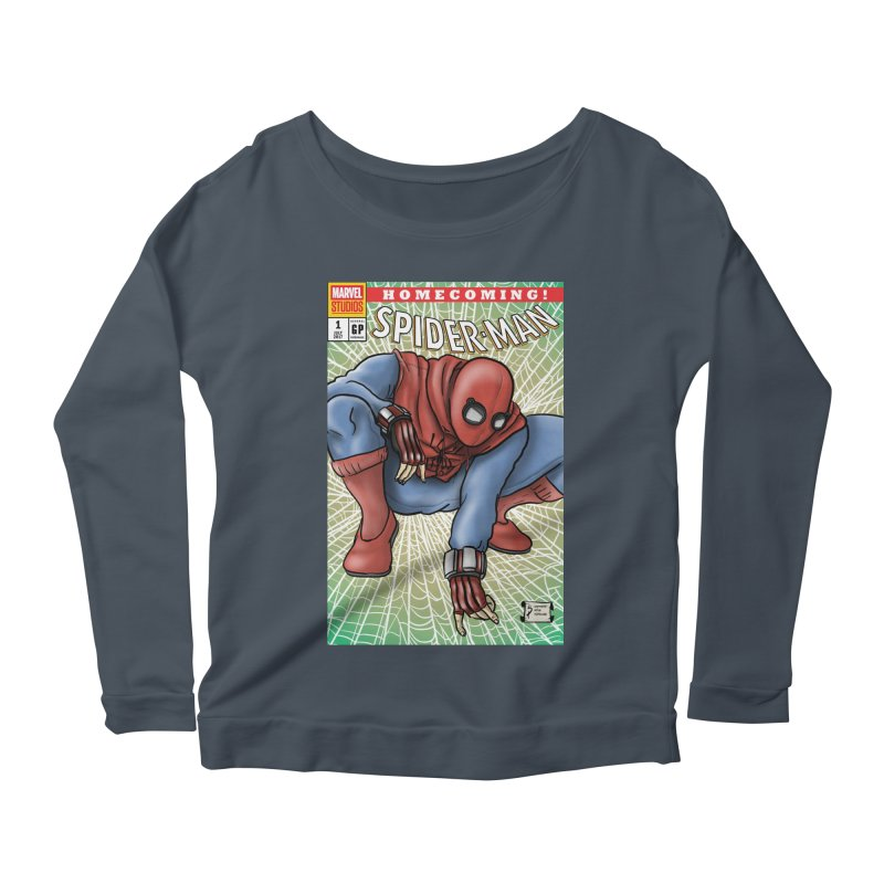 Spider-man: Homecoming Cover Swipe Women's Scoop Neck Longsleeve T-Shirt by cryptopop's Artist Shop