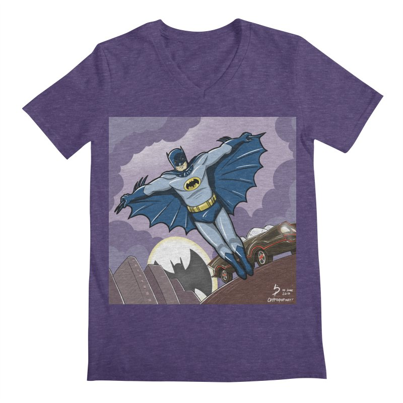 Adam West Batman Men's Regular V-Neck by cryptopop's Artist Shop