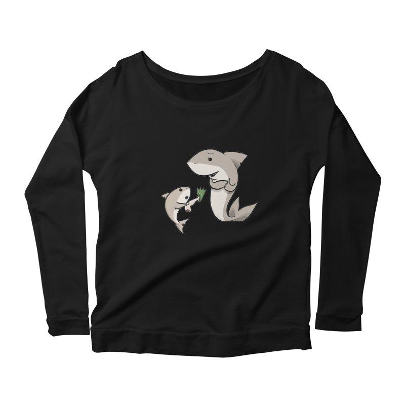 Sharks Women's Scoop Neck Longsleeve T-Shirt by cryptopop's Artist Shop