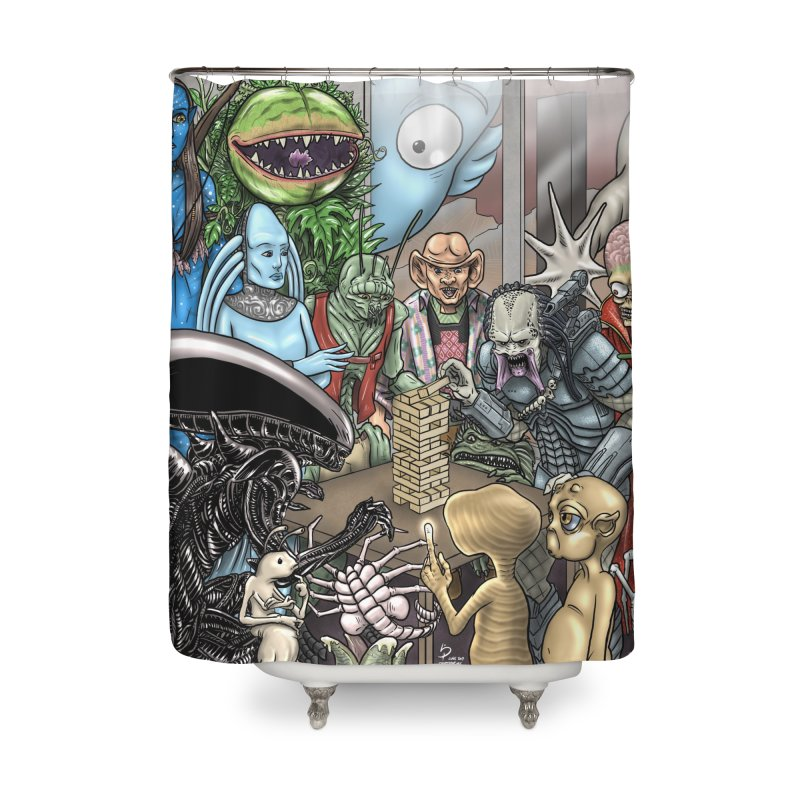 Alien Jenga Home Shower Curtain by cryptopop's Artist Shop