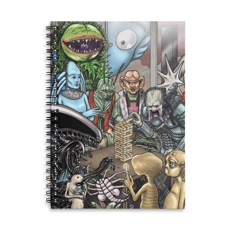 Alien Jenga Accessories Lined Spiral Notebook by cryptopop's Artist Shop