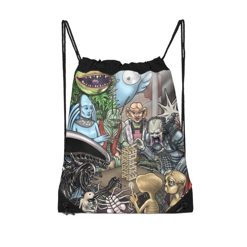 Alien Jenga Accessories Drawstring Bag Bag by cryptopop's Artist Shop
