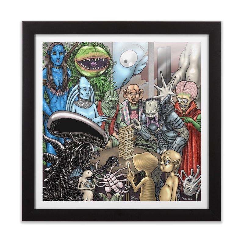 Alien Jenga Home Framed Fine Art Print by cryptopop's Artist Shop