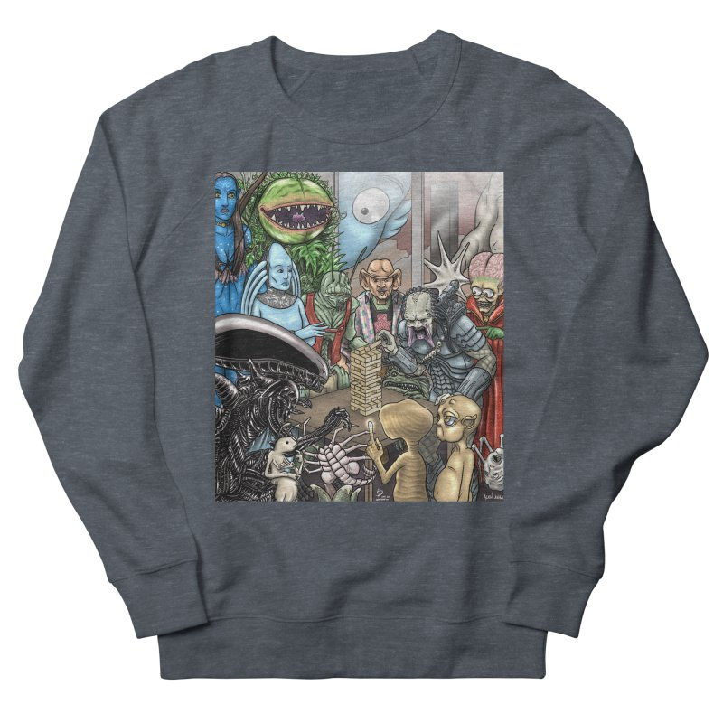 Alien Jenga Men's French Terry Sweatshirt by cryptopop's Artist Shop