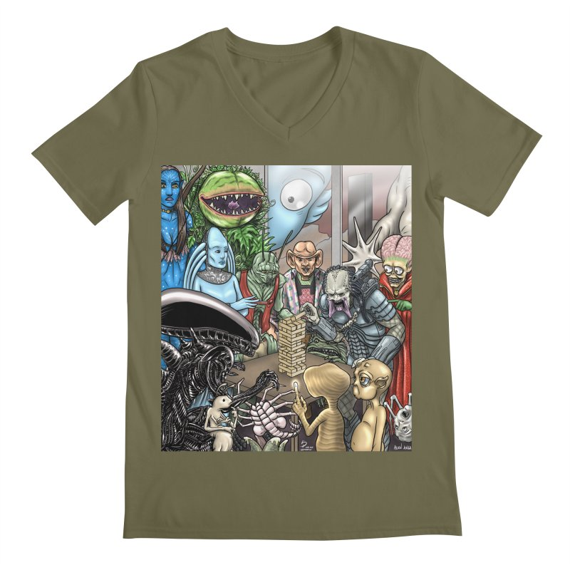 Alien Jenga Men's Regular V-Neck by cryptopop's Artist Shop