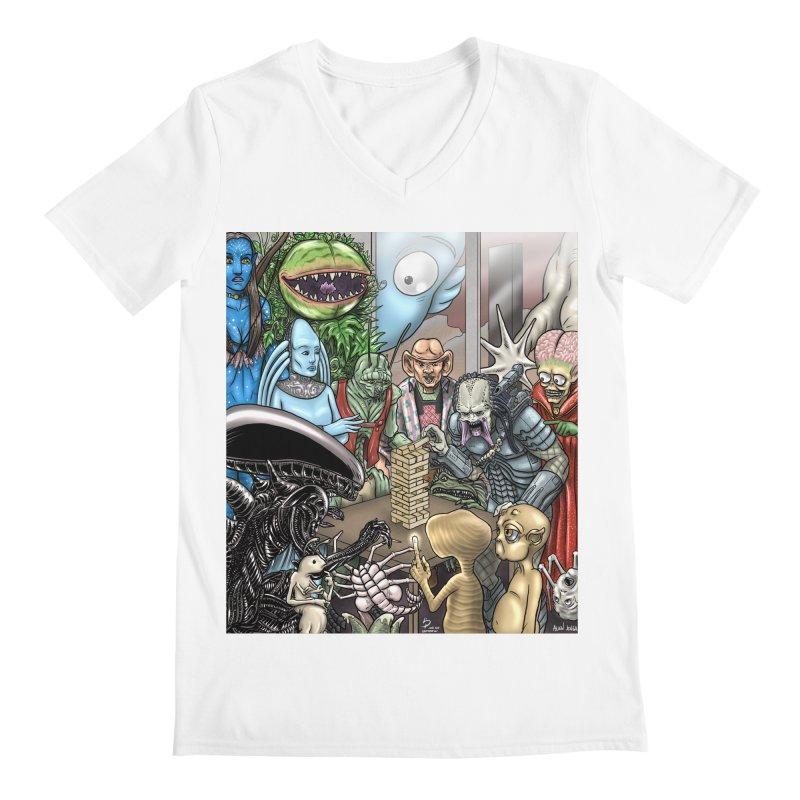 Alien Jenga Men's Regular V-Neck by cryptopop's Artist Shop