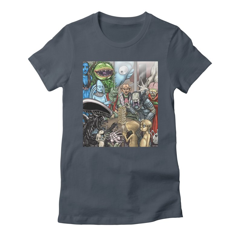 Alien Jenga Women's Fitted T-Shirt by cryptopop's Artist Shop