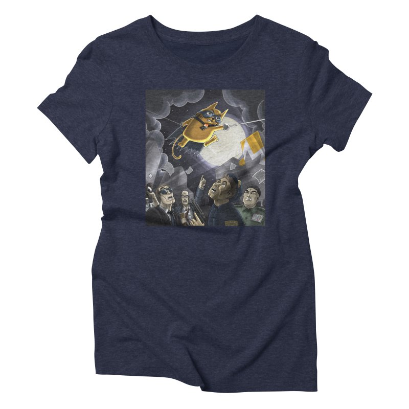 Monero Cat Over the Moon Women's Triblend T-Shirt by cryptopop's Artist Shop