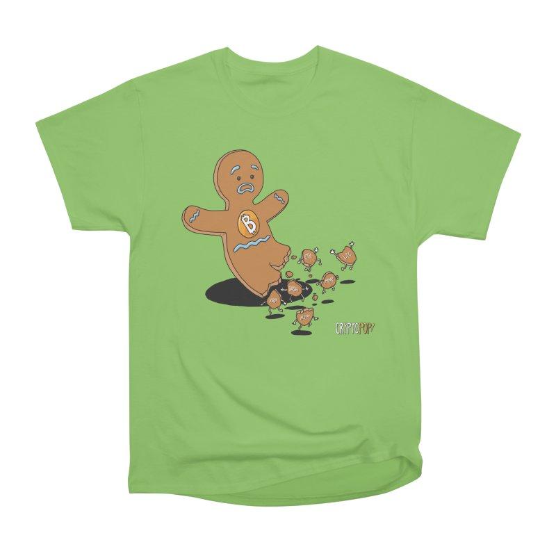 Bitcoin Gingerbread Man Women's Heavyweight Unisex T-Shirt by cryptopop's Artist Shop
