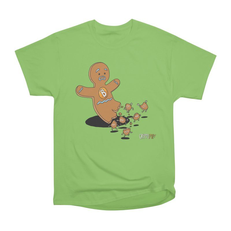 Bitcoin Gingerbread Man Men's Heavyweight T-Shirt by cryptopop's Artist Shop