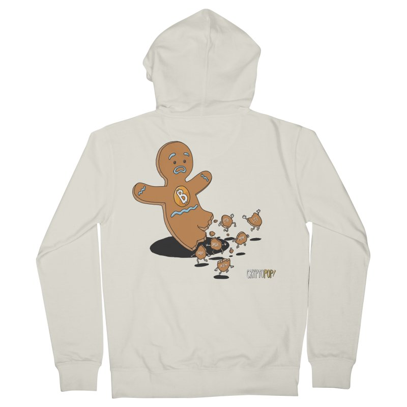 Bitcoin Gingerbread Man Women's French Terry Zip-Up Hoody by cryptopop's Artist Shop