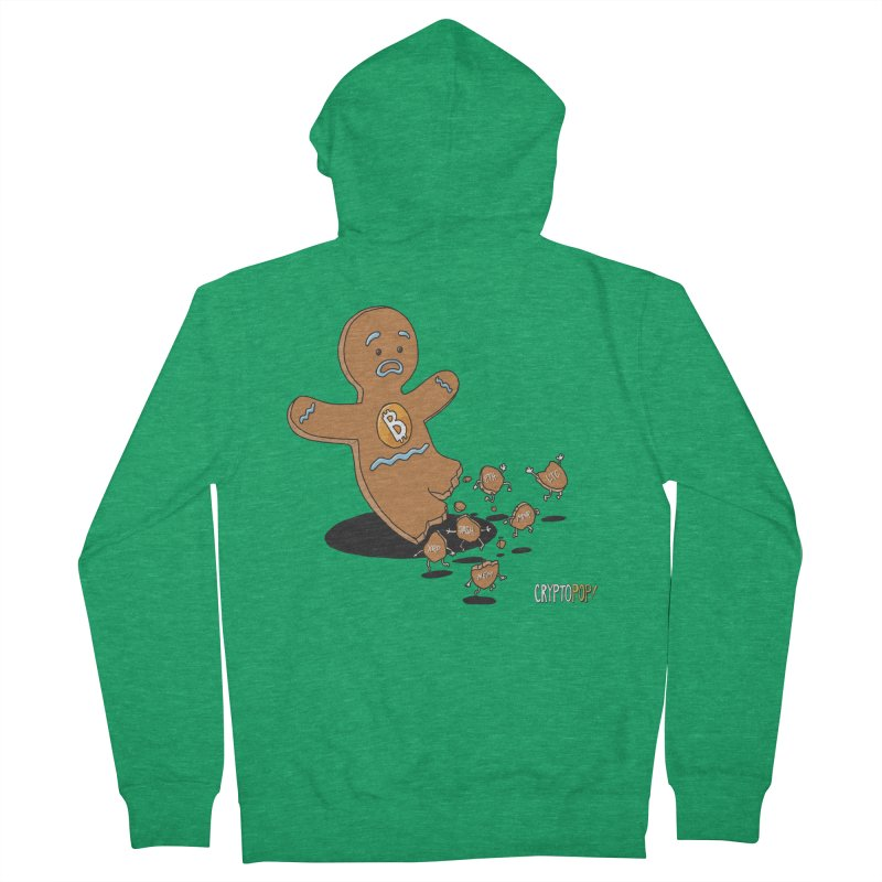 Bitcoin Gingerbread Man Men's Zip-Up Hoody by cryptopop's Artist Shop