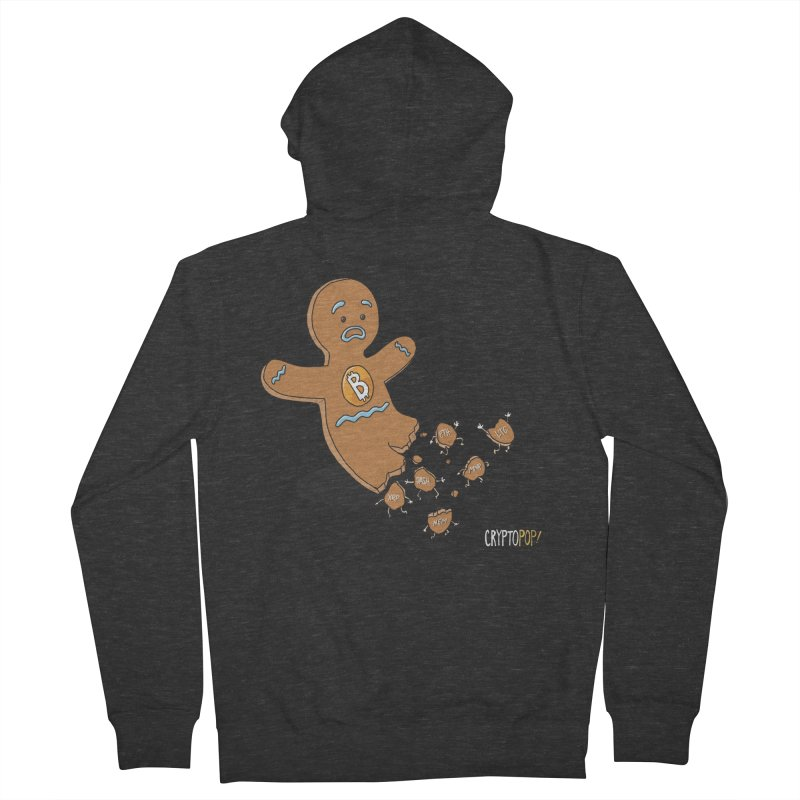 Bitcoin Gingerbread Man Men's French Terry Zip-Up Hoody by cryptopop's Artist Shop