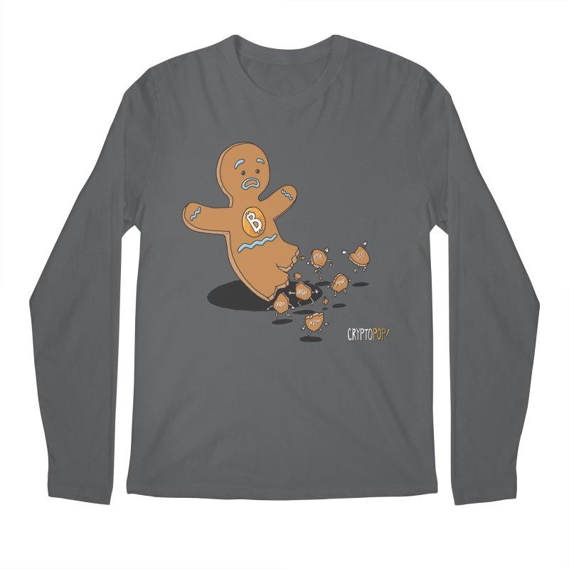 Bitcoin Gingerbread Man Men's Longsleeve T-Shirt by cryptopop's Artist Shop