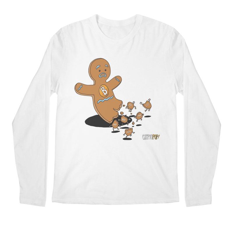 Bitcoin Gingerbread Man Men's Regular Longsleeve T-Shirt by cryptopop's Artist Shop