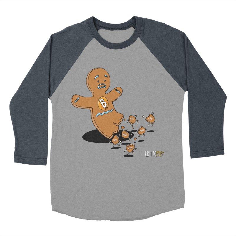 Bitcoin Gingerbread Man Women's Baseball Triblend Longsleeve T-Shirt by cryptopop's Artist Shop