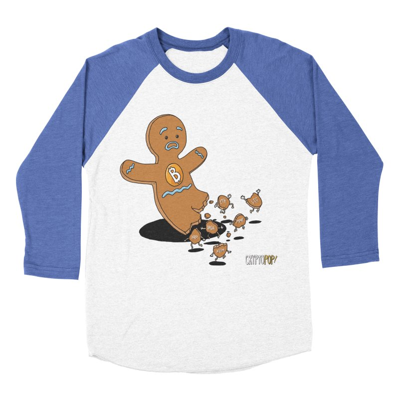 Bitcoin Gingerbread Man Men's Baseball Triblend Longsleeve T-Shirt by cryptopop's Artist Shop