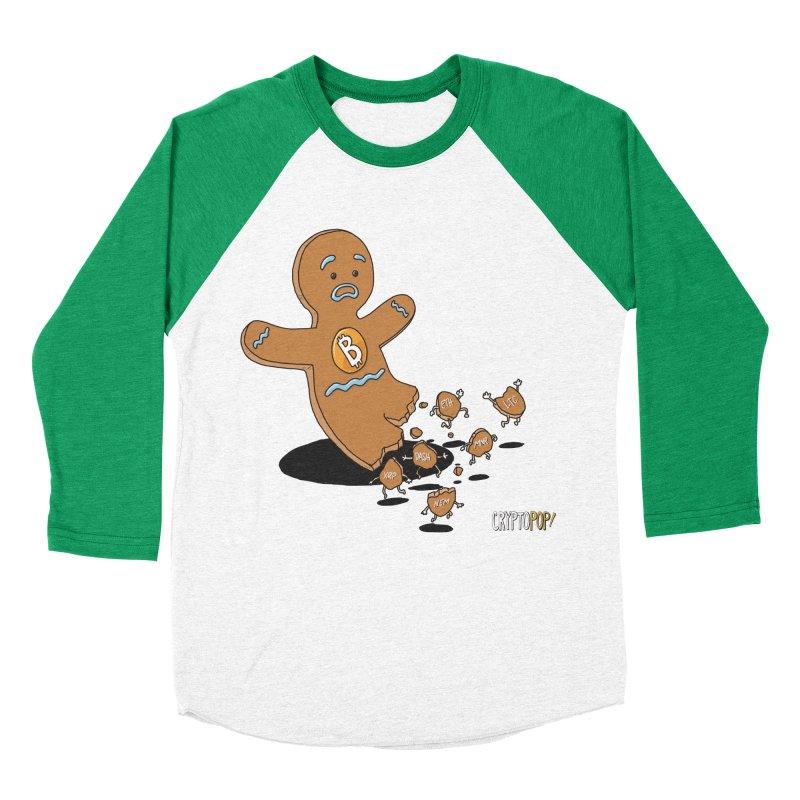 Bitcoin Gingerbread Man Men's Baseball Triblend Longsleeve T-Shirt by cryptopop's Artist Shop