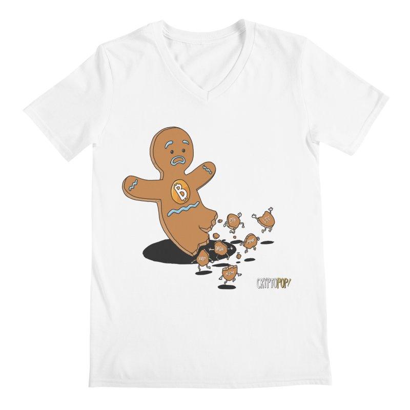 Bitcoin Gingerbread Man Men's Regular V-Neck by cryptopop's Artist Shop