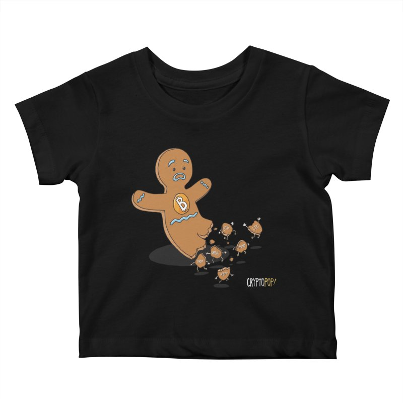 Bitcoin Gingerbread Man Kids Baby T-Shirt by cryptopop's Artist Shop