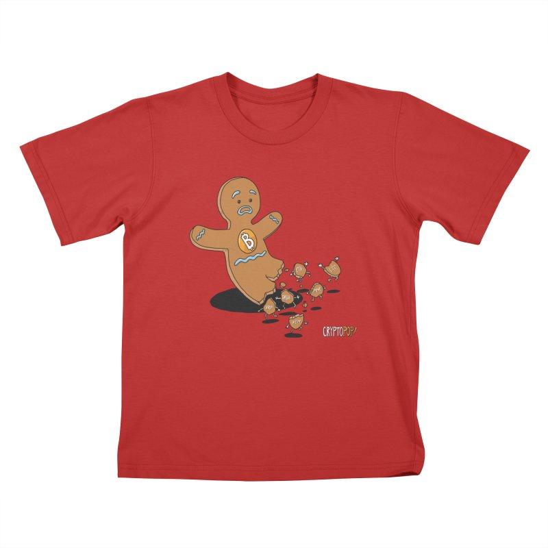 Bitcoin Gingerbread Man Kids T-Shirt by cryptopop's Artist Shop