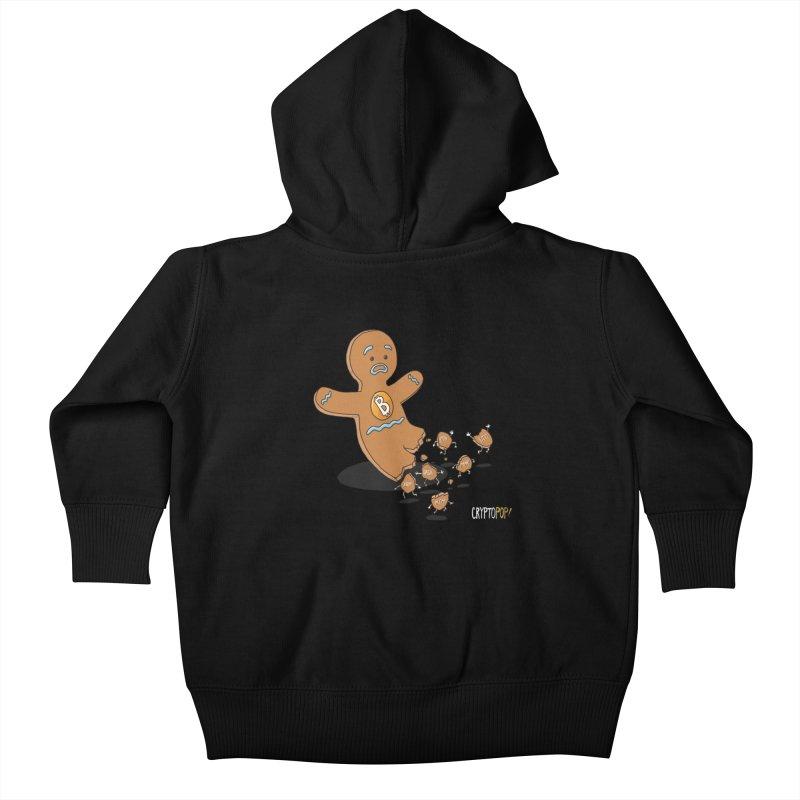 Bitcoin Gingerbread Man Kids Baby Zip-Up Hoody by cryptopop's Artist Shop
