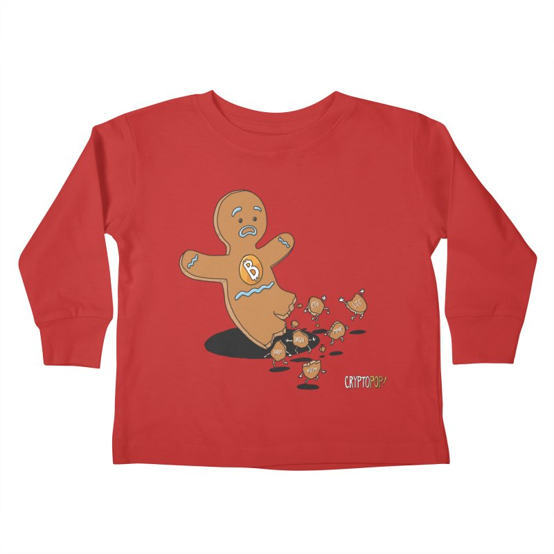 Bitcoin Gingerbread Man Kids Toddler Longsleeve T-Shirt by cryptopop's Artist Shop