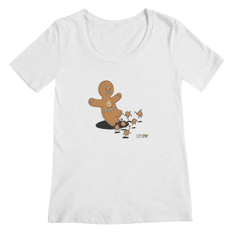 Bitcoin Gingerbread Man Women's Regular Scoop Neck by cryptopop's Artist Shop