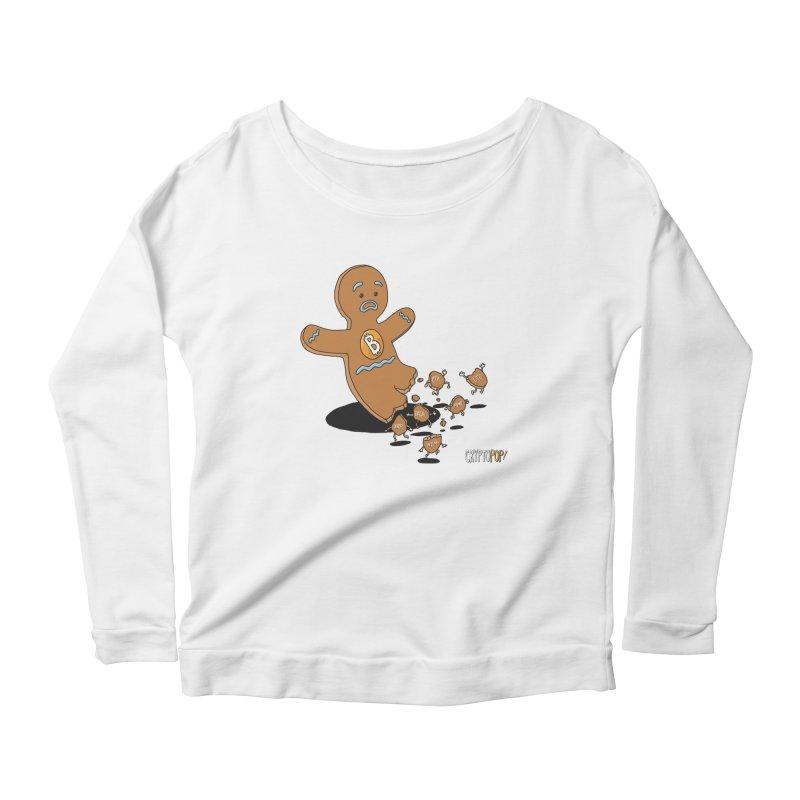 Bitcoin Gingerbread Man Women's Scoop Neck Longsleeve T-Shirt by cryptopop's Artist Shop