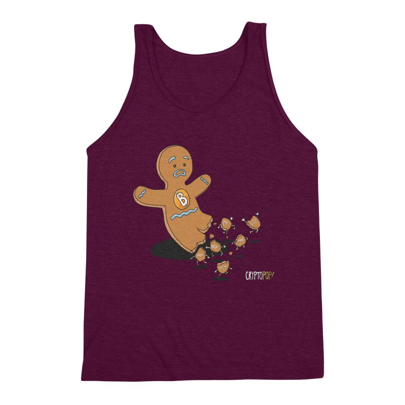 Bitcoin Gingerbread Man Men's Triblend Tank by cryptopop's Artist Shop