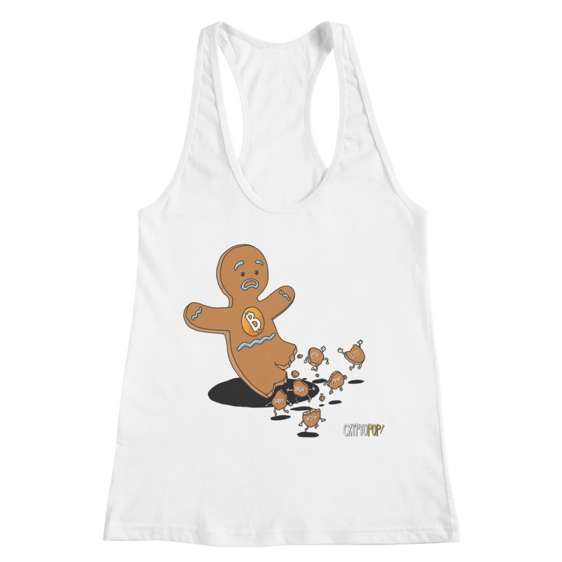 Bitcoin Gingerbread Man Women's Racerback Tank by cryptopop's Artist Shop