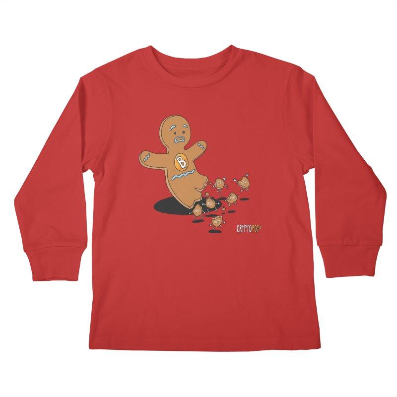Bitcoin Gingerbread Man Kids Longsleeve T-Shirt by cryptopop's Artist Shop