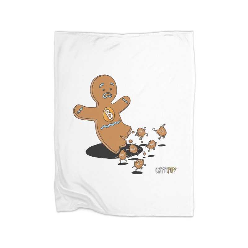 Bitcoin Gingerbread Man Home Fleece Blanket Blanket by cryptopop's Artist Shop