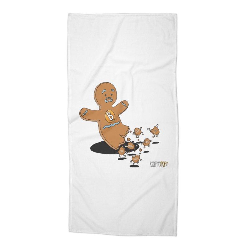 Bitcoin Gingerbread Man Accessories Beach Towel by cryptopop's Artist Shop