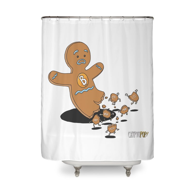 Bitcoin Gingerbread Man Home Shower Curtain by cryptopop's Artist Shop