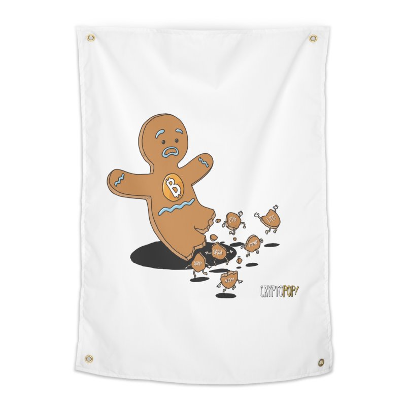 Bitcoin Gingerbread Man Home Tapestry by cryptopop's Artist Shop