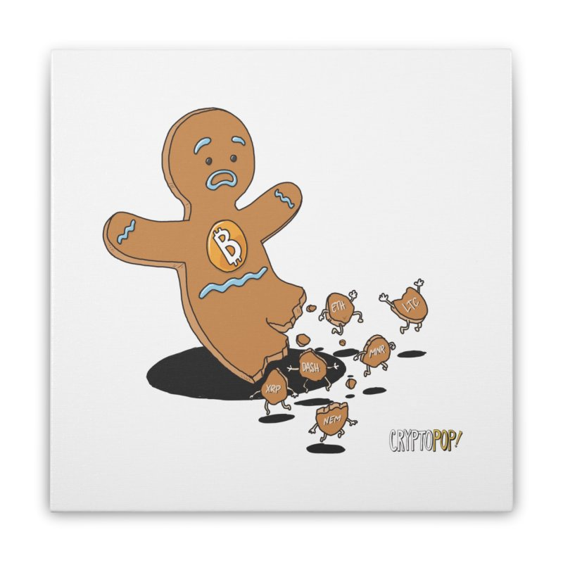 Bitcoin Gingerbread Man Home Stretched Canvas by cryptopop's Artist Shop