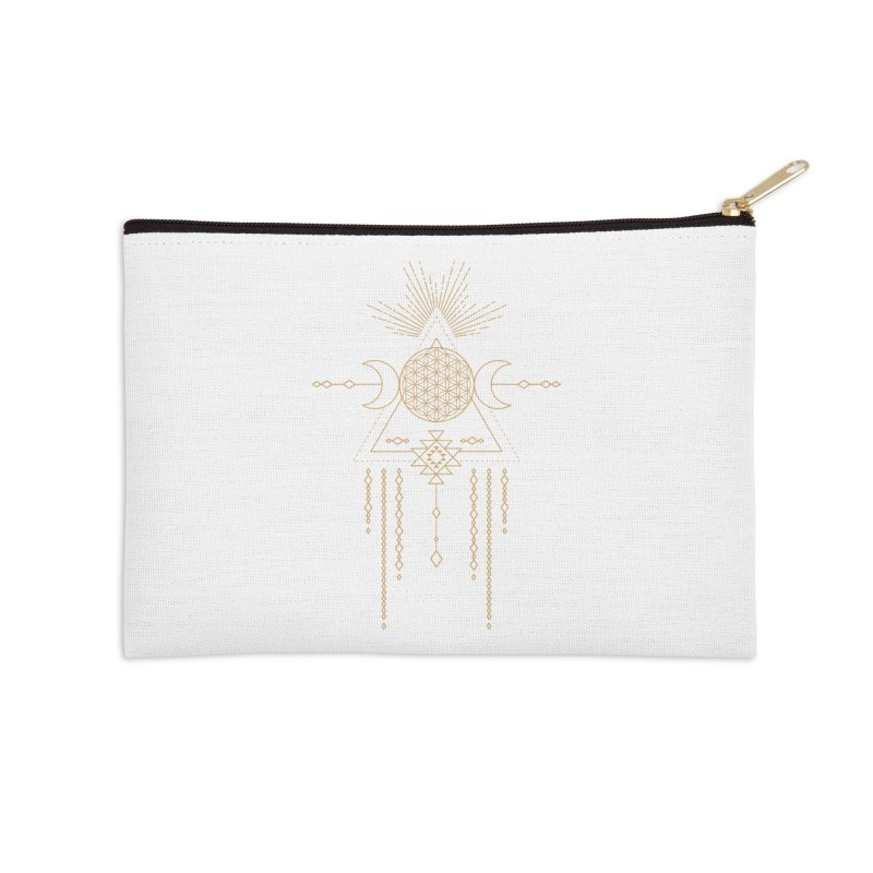 Flower of Life Tribal Totem Accessories Zip Pouch by Crystalline Light