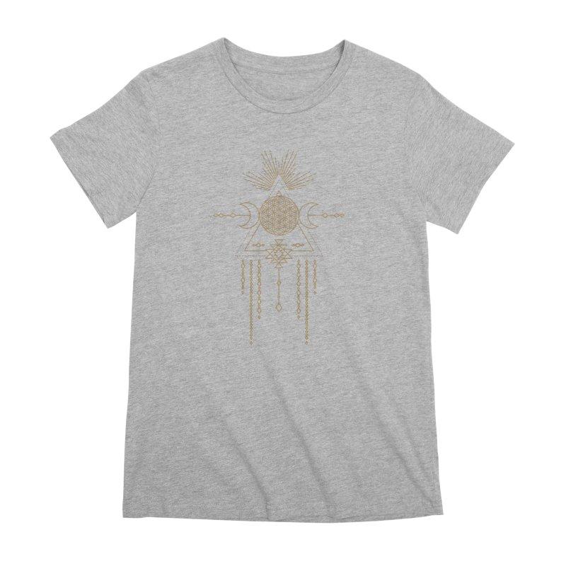 Flower of Life Tribal Totem Women's Premium T-Shirt by Crystalline Light