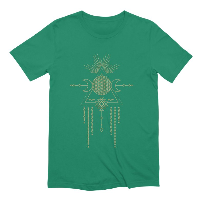 Flower of Life Tribal Totem Men's Extra Soft T-Shirt by Crystalline Light