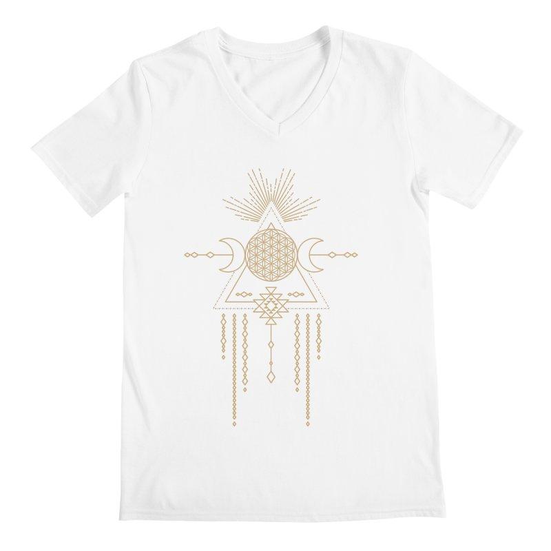 Flower of Life Tribal Totem Men's V-Neck by Crystalline Light