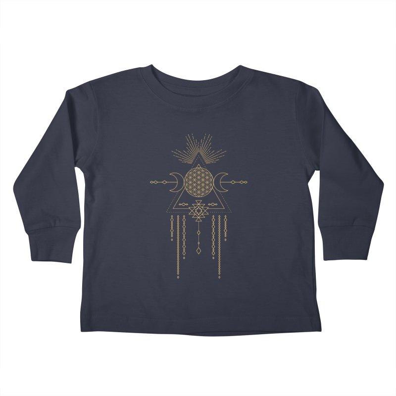 Flower of Life Tribal Totem Kids Toddler Longsleeve T-Shirt by Crystalline Light