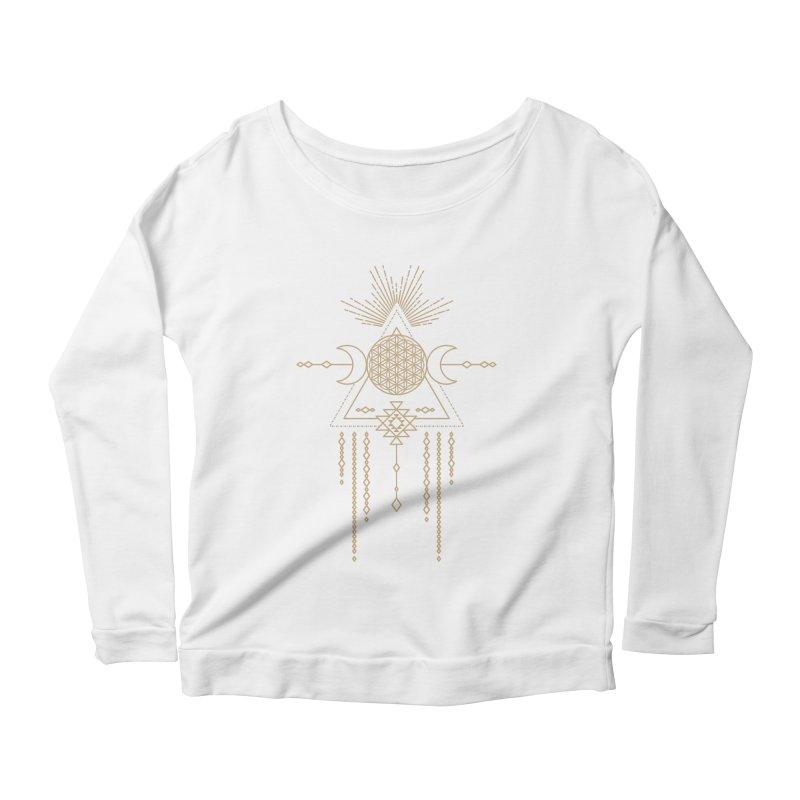 Flower of Life Tribal Totem Women's Scoop Neck Longsleeve T-Shirt by Crystalline Light