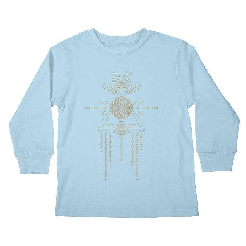 Flower of Life Tribal Totem Kids Longsleeve T-Shirt by Crystalline Light
