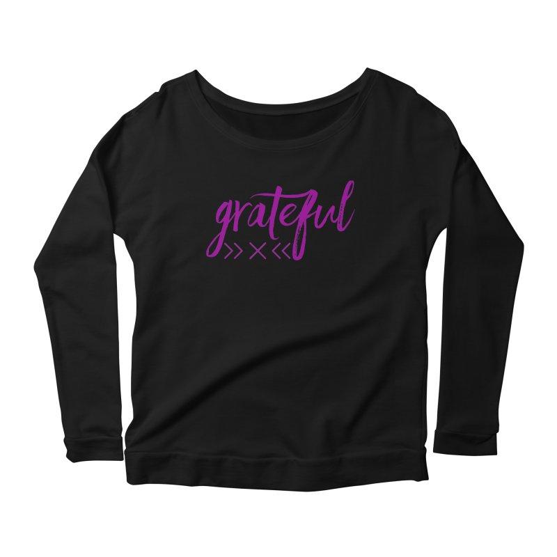 Grateful Women's Scoop Neck Longsleeve T-Shirt by Crystalline Light