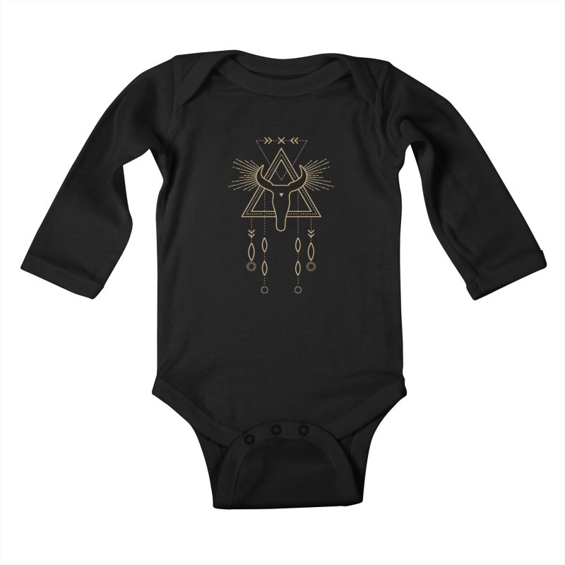 Magical Skull Totem Kids Baby Longsleeve Bodysuit by Crystalline Light