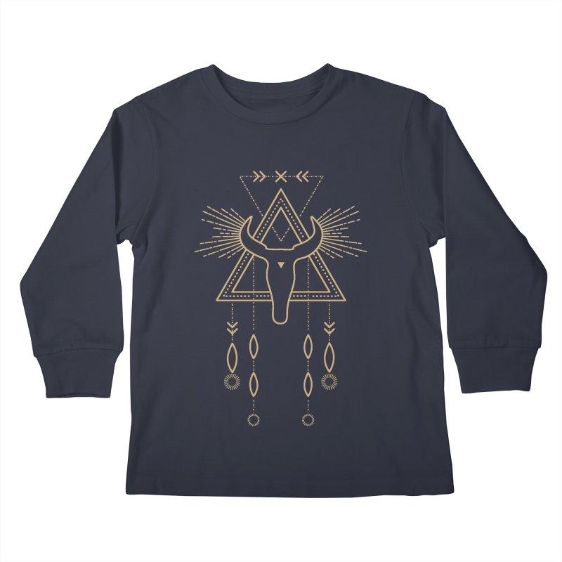 Magical Skull Totem Kids Longsleeve T-Shirt by Crystalline Light