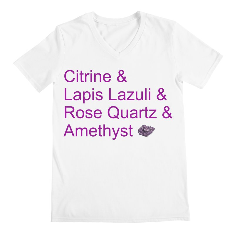 Citrine & Lapis Lazuli & Rose Quartz & Amethyst Men's V-Neck by Crystalline Light