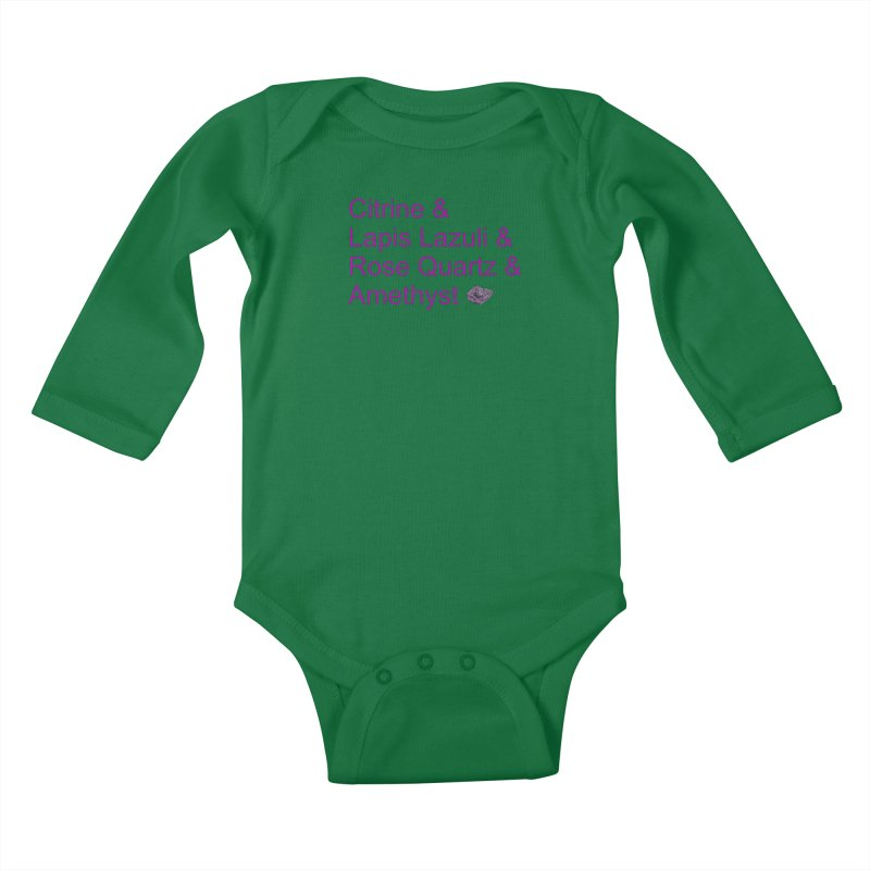 Citrine & Lapis Lazuli & Rose Quartz & Amethyst Kids Baby Longsleeve Bodysuit by Crystalline Light