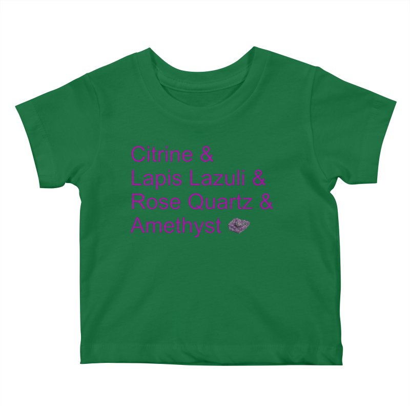 Citrine & Lapis Lazuli & Rose Quartz & Amethyst Kids Baby T-Shirt by Crystalline Light